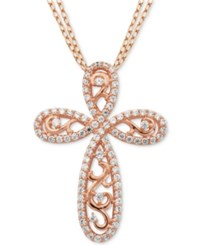 Giani Bernini Cubic Zirconia Cross Pendant Necklace In 18K Rose Gold Plated Sterling Silver Only At Macy's