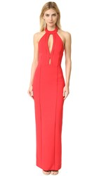 Nicholas Bandage Collar Plunge Gown Poppy