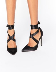 Asos Pino Satin Lace Up Pointed Heels Black Satin