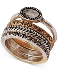 Lucky Brand Two Tone Organic Stone Stack Ring
