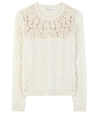 Red Valentino Wool Angora And Cashmere Blend Sweater White