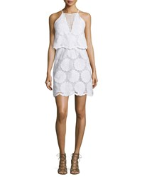 N Nicholas Sunflower Lace Tiered Mini Dress White Women's