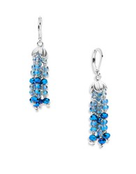 Lonna And Lilly Faceted Glass Stone Tassel Drop Earrings Blue