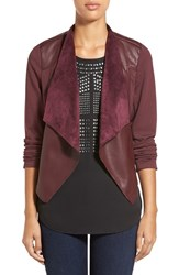 Women's Kut From The Kloth 'Lincoln' Faux Leather Drape Front Jacket Bordeaux