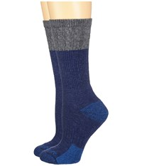 Carhartt Merino Wool Blend Textured Crew Socks 2 Pair Pack Navy Women's Crew Cut Socks Shoes