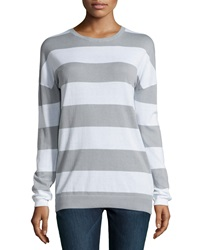 Minnie Rose Striped Long Sleeve Crewneck Sweater Fonce Gris