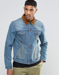 Asos Slim Fit Denim Jacket With Contrast Cord Collar In Blue Blue