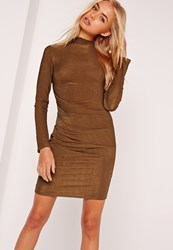 Missguided Long Sleeve Bodycon Dress Brown Copper