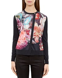 Ted Baker Haleera Focus Bouquet Cardigan Dark Blue