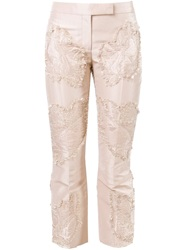Alexander Mcqueen Textured Panel Trousers Pink And Purple