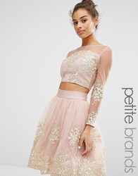 Chi Chi Petite London Allover Premium Embroidered Long Sleeve Crop Top Co Ord Blush Gold Pink