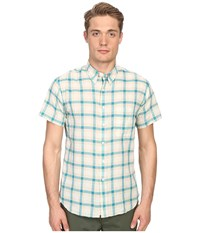 Billy Reid Short Sleeve Tuscumbia Shirt Cyan Tan Men's Short Sleeve Button Up Mahogany