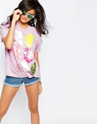 Asos T Shirt With Scatter Sequins Lilac Purple