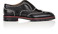 Christian Louboutin Men's Crapamale Flat Studded Leather Wingtip Balmorals Black