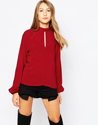 Influence High Neck Key Hold Detail Blouse Red