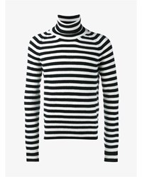 Haider Ackermann Virgin Wool Cashmere Blend Stripe Sweater Black White Denim