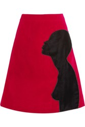 Christopher Kane Appliqued Cotton Blend Velvet Skirt Red