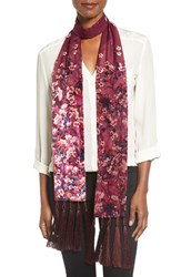 Collection Xiix Women's 'Folk Floral' Tassel Skinny Scarf