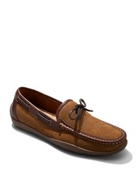Tommy Bahama Odinn Camp Perforated Leather Boat Shoes Tan