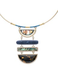 Lonna And Lilly Cubic Zirconia Reconstituted Sodalite Goldtone Pendant Necklace