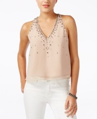 Guess Jaslyn Sleeveless Beaded Top Rugby Tan