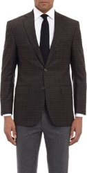 Barneys New York Super 120'S Check Two Button Sportcoat Brown