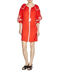 Maje Ramette Embroidered Peasant Dress Tomette Red