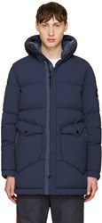 Stone Island Blue Down Hooded Puffer Jacket