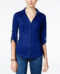 Almost Famous Juniors' Ribbed Panel Utility Top Navy