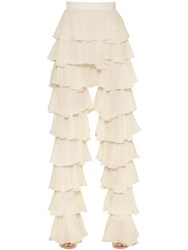 Balmain Ruffled Silk Chiffon Pants