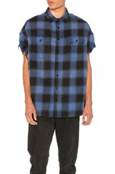 R 13 R13 Oversized Cut Off Shirt In Blue Checkered And Plaid Blue Checkered And Plaid