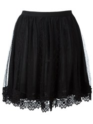 Red Valentino Tulle Overlay Straight Skirt Black
