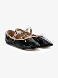 Valentino Studded Patent Leather Ballet Shoes Black Silver Pink