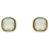 Finesse Cushion Glass Crystal Stud Earrings Rose Gold Opal