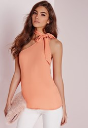 Missguided Pussybow Neck One Shoulder Cami Blush Pink