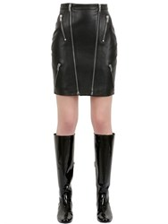 Saint Laurent Zipped Nappa Leather Mini Skirt