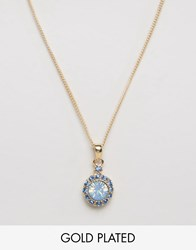 Ny Lon Nylon Gold Plated Gem Stone Necklace Gold Blue