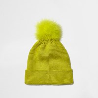 River Island Womens Fluro Yellow Knit Bobble Hat