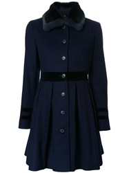 Loveless Pleated Fitted Coat Blue
