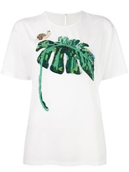 Dolce And Gabbana Sequined Banana Leaf T Shirt White