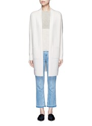Vince Side Slit Wool Cashmere Cardigan White