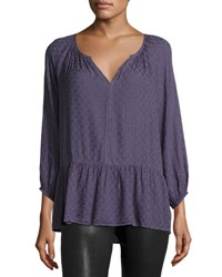 Velvet By Graham And Spencer Damask Print Split Neck Blouse Black