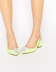Asos Shimmer Embellished Pointed Heels Yellow