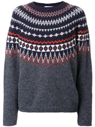 Closed Intarsia Jumper Grey