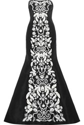 Oscar De La Renta Strapless Embellished Silk Faille Gown Black