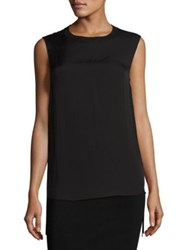 Vince Ribbed Sleeveless Silk Tank Bleached Black