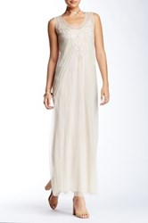Biya Scoop Neck Mesh Beaded Silk Dress Beige