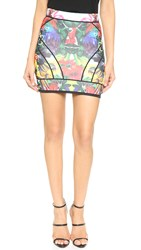 Dsquared Neoprene Miniskirt Tropical Print