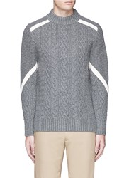 Sacai Contrast Ribbon Cable Knit Sweater Grey