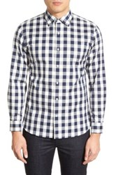 Kent And Curwen Trim Fit Gingham Check Sport Shirt Blue
